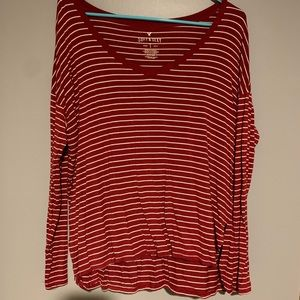 Autumn red and white striped shirt